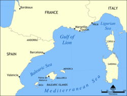 Carte du golfe du Lion.