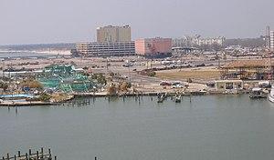 Gulfport, Mississippi - Damage to Marine Life Oceanarium and Casinos at port facility