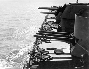 "6""/47 caliber gun - Image: Guns and shell casings on board USS Brooklyn (CL 40) during Sicily invasion, July 1943"