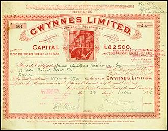 Gwynnes Limited - Gwynnes share certificate