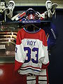 HHOF July 2010 Canadiens locker 18 (Roy).JPG