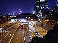 HK 中環 Central 金融街 Finance Street footbridge view traffic tunnel entrance 夜景 night September 2020 SS2 01.jpg