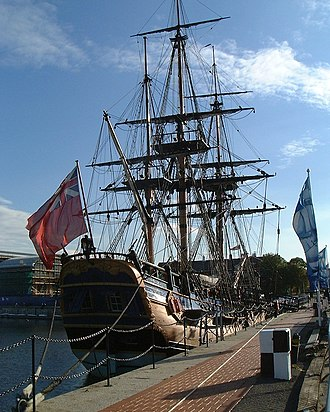 HM Bark Endeavour Replica - The Endeavour replica on display at Chatham Dockyard in September 2003