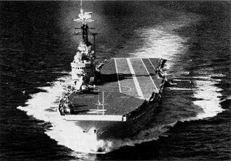 HMS Albion (R07) - Image: HMS Albion (R07) underway 1956