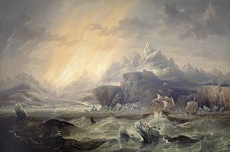James Clark Ross - Ross expedition in the Antarctic, 1847, by James Wilson Carmichael.
