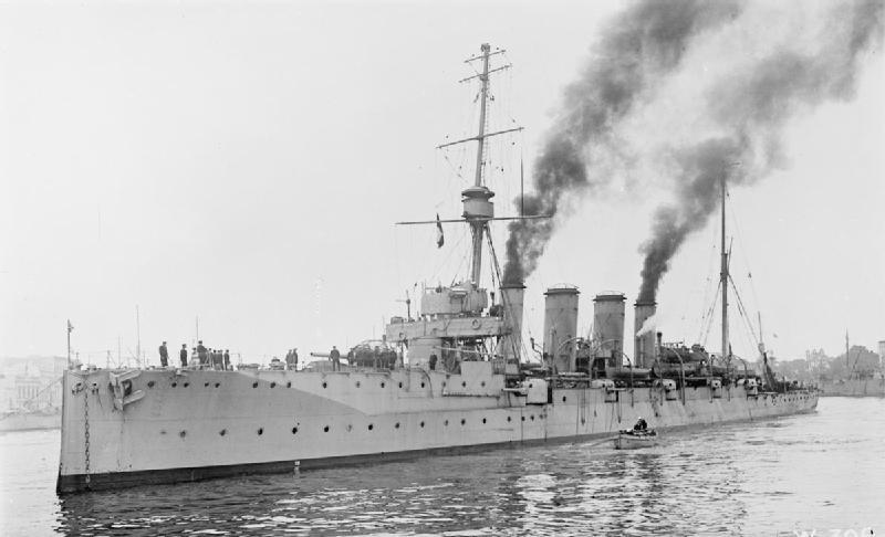 HMS Gloucester at anchor at Brindisi, Italy, 1917 - IWM SP 459