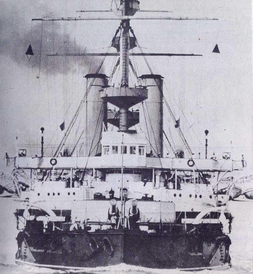 HMS Hood (1891) Bows-On Mediterranean 1901