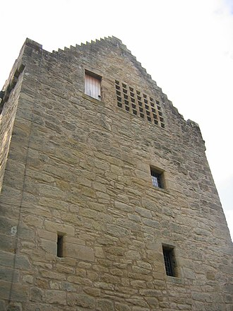 Tower of Hallbar - The north wall of the tower, showing the dovecot.