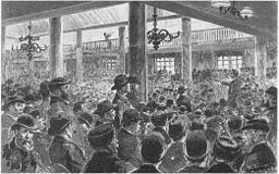 Hamburger Hafenarbeiterstreik 1896 97 Versammlung Staatskaiarbeiter