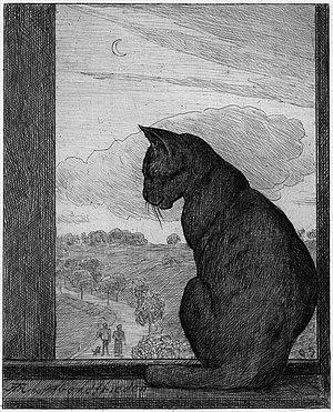 Hans Thomas: Die Katze (Abendfrieden), Radieru...