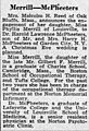 Harold Lawrence McPheeters (1923- ) and Phyliss Merrill (1924-2011) engagement in the The Courier-Journal of Louisville, Kentucky on 23 December 1951.jpg