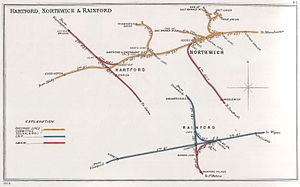 Kirkby railway station - A 1908 Railway Clearing House Junction Diagram showing (lower right) railways in the vicinity of Kirkby