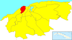 Location of  in Havana
