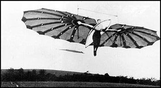 Percy Pilcher - The hang glider The Hawk, 1897. Shown might be Miss Dorothy Pilcher, Percy's cousin who was towed in a flight.