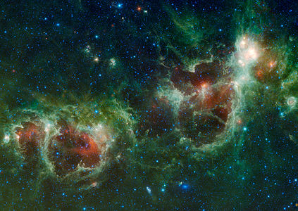 The Heart and Soul nebulae are seen in this infrared mosaic from NASA's Wide-field Infrared Survey Explorer, or WISE. Also visible near the bottom of this image are two galaxies, Maffei 1 and Maffei 2. Maffei 1 is the bluish elliptical object and Maffei 2 is the spiral galaxy.