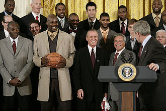 Pat Riley - Riley and the Miami Heat with President George W. Bush