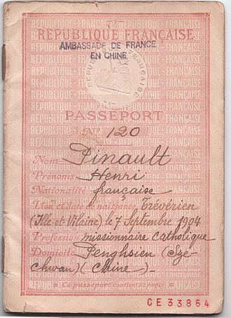 Henri Pinault - Cover of Henri Pinault's 1945 French passport issued in China