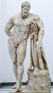 One of the most famous depictions of Heracles, originally by Lysippos (marble, Roman copy called Hercules Farnese, 216 CE)