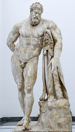 A large marble statue of Hercules resting on his club.