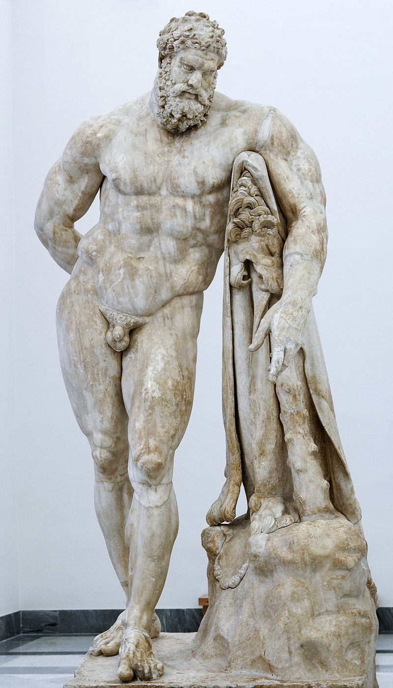The Farnese Hercules, enlarged version signed by 'Glykon,' 3rd c BCE, (original sculpture by Lysippos, 4th c BCE), Museo Archeologico Nazionale, Naples, Italy.