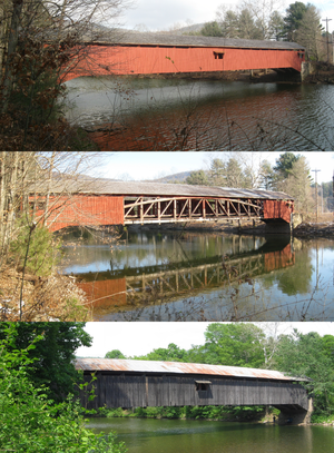 Hillsgrove Covered Bridge - Hillsgrove Covered Bridge over Loyalsock Creek after restoration in 2012 (top), with flood damage in 2011 (middle), and before restoration in 2008 (bottom)