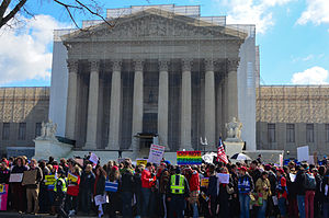 Hollingsworth v. Perry - A demonstration in front of the Supreme Court on the day of oral arguments