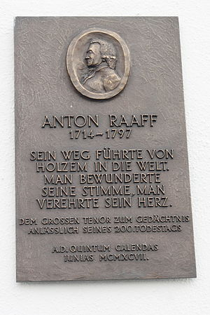 Anton Raaff - Memorial plaque for Raaff in Wachtberg