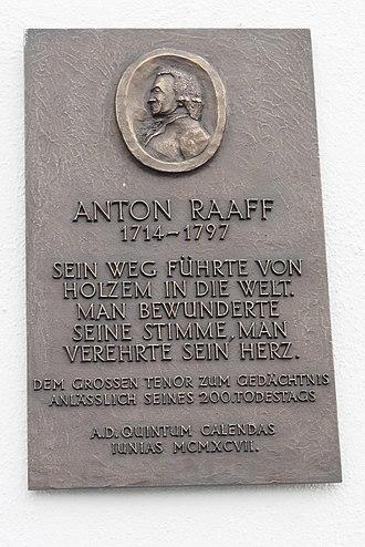 Anton Raaff - Memorial plaque for Raaff in Wachtberg