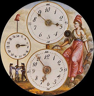 History of the metric system - A clock of the republican era showing both decimal and standard time