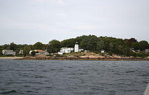 Hospital Point Range Front Light - Image: Hospital Point and Rice's Beach from Beverly Harbor