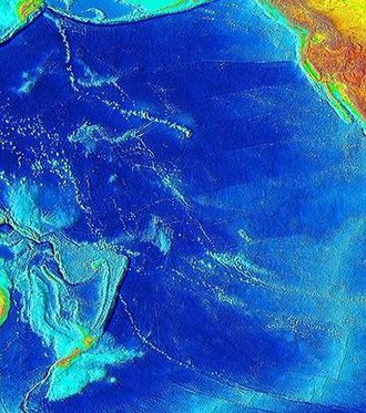 Hotspot (geology) - Prominent hotspot trails on a bathymetric map of the Pacific Ocean
