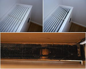 Radiator (heating) - Hotwater baseboard-style radiator (top) which is covered (left) and opened (right), with inside view (below) showing the aluminium fins which are attached in series to the copper pipe.