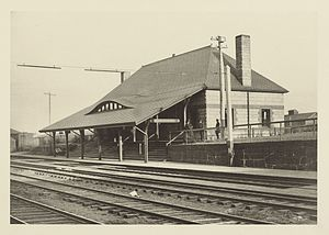 Boston Landing (MBTA station) - Brighton station in the late 1800s. The station, designed by H.H. Richardson, was demolished in 1959.