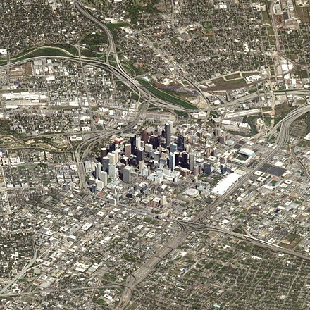 Aerial view of central Houston, showing Downtown and surrounding neighborhoods, March 2018 Houston Texas 14Mar2018 SkySat.jpg