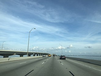 Howard Frankland Bridge - Eastbound traffic toward Tampa in 2017