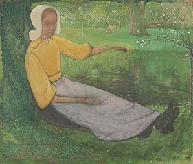 Woman of Huizen sitting under a Tree