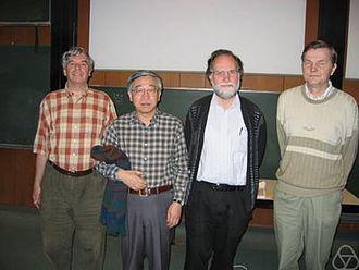 Samuel James Patterson - Samuel Patterson (2nd from right) 2004 in Oberwolfach, with (from left) Martin Huxley, Yōichi Motohashi, Matti Jutila