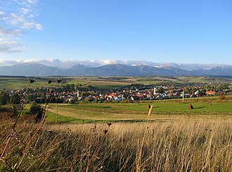 Village - Hybe in Slovakia with Western Tatra mountains in background