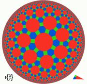 Poincaré disc model of great rhombitruncated {3,7} tiling