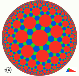 Poincaré disk model - Poincaré disk model of the truncated triheptagonal tiling.