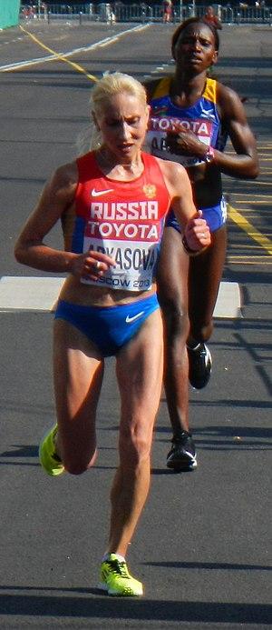 Tatyana Aryasova - Tatyana Aryasova and Alina Armas during 2013 World Championships in Athletics – Women's Marathon in Moscow.