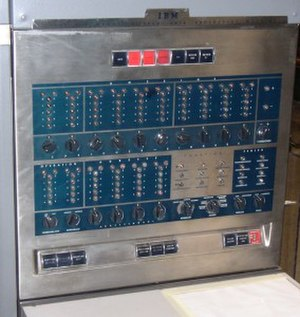 IBM 650 - IBM 650 console panel, showing bi-quinary indicators. (At House for the History of IBM Data Processing (closed), Sindelfingen)