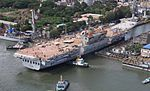 INS Vikrant being undocked at the Cochin Shipyard Limited in 2015 (09).jpg
