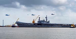 INS Viraat - Viraat departs Mumbai under her own power for the last time in July 2016 en route to Kochi.
