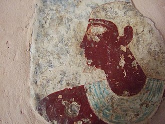 Deir El Gabrawi - A painted relief from Ibi's 6th dynasty tomb.