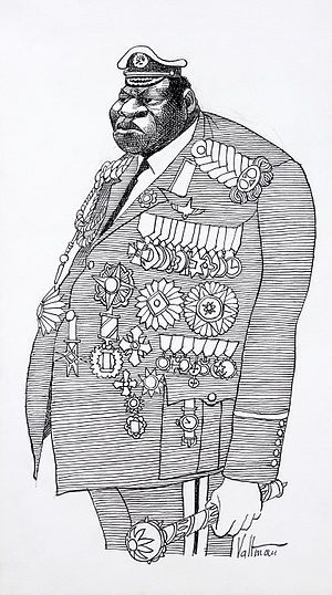 Edmund S. Valtman - Caricature of Idi Amin in military and presidential attire by Edmund S. Valtman.
