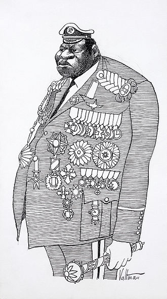 Idi Amin - A 1977 caricature of Amin in military and presidential attire by Edmund S. Valtman