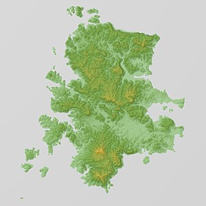Iki Island Relief Map, SRTM.jpg