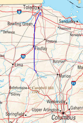 Route of CSX 8888 runaway train (starts at top, just south of Toledo, Ohio)