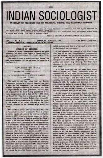 Shyamji Krishna Varma - The Indian Sociologist. September, 1908,  London.